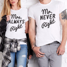 "T-kreklu komplekts ""Mr. NEVER Right & Mrs. ALWAYS Right"""
