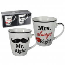 "Krūžu komplekts pārim ""Mr. Right & Mrs. Always Right"""